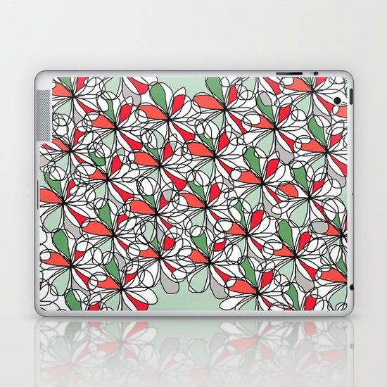 Xmas Floral Doodle Laptop & iPad Skin