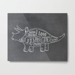 Triceratops Dinosaur (A.K.A Three Horn Face) Butcher Meat Diagram Metal Print