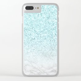 Turquoise Glitter and Marble Clear iPhone Case