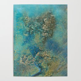 Blue And Gold Modern Abstract Art Painting Poster