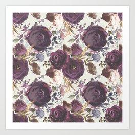 Pastel burgundy violet pink watercolor roses floral Art Print