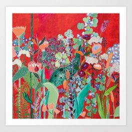 Floral Jungle on Red with Proteas, Eucalyptus and Birds of Paradise Art Print