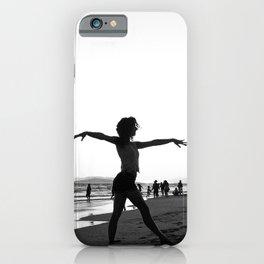 Vintage Surfer Girl   California Ocean Dancing on Huntington Beach Black and White Silhouette iPhone Case