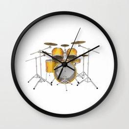 Yellow Drum Kit Wall Clock