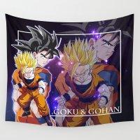 goku Wall Tapestries featuring Goku & Gohan by Neo Crystal Tokyo