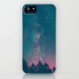 Blue Purple Pink Silhouette Milky Way Galaxy Forest iPhone Case