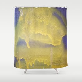 Yellow graffiti stain on gray background ready for picture, clothes, furniture, iphone cases Shower Curtain
