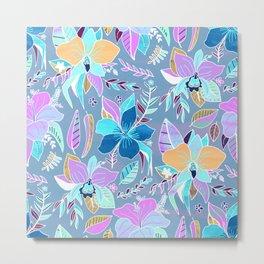 Pastel Tropical Floral Metal Print