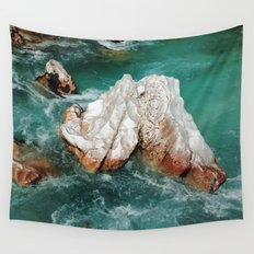 Sharp rock in river Wall Tapestry
