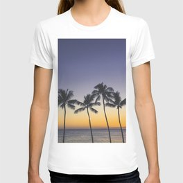 Palm Trees w/ Ombre Tropical Sunset - Hawaii T-shirt