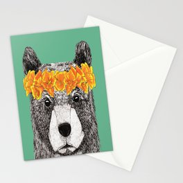 Grizzly with Poppies Stationery Cards