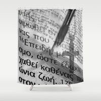 bible verse Shower Curtains featuring Multilingual Bible Study by Clayton Jones