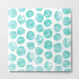 Turquoise and Aqua Watercolor Dots Metal Print