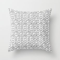 Knitting Knit Pattern - Doodle - Black and White Ink Throw Pillow