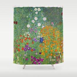 Gustav Klimt Flower Garden Floral Art Nouveau Shower Curtain