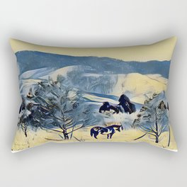 Indian Pony Yellow Winter by CheyAnne Sexton Rectangular Pillow