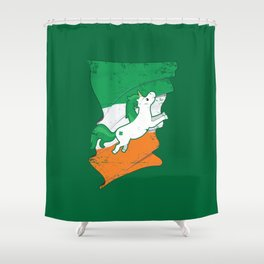 Distressed Irish Flag Unicorn St Patricks Green Shower Curtain