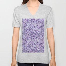 Pale Lilac Cobbled Patchwork Unisex V-Neck