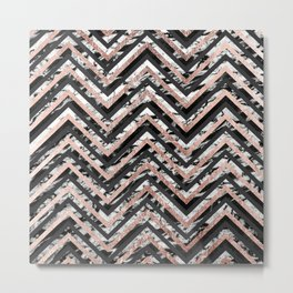 Black and White Marble and Rose Gold Chevron Zigzag Metal Print