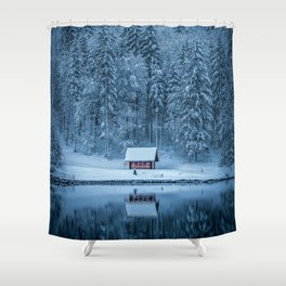 Winter trees - Moody version Shower Curtain