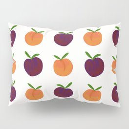 Peachy Plummy Hand-Painted Orchard Fruits in Orange and Purple Pillow Sham