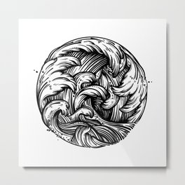 Waves Tattoo Metal Print