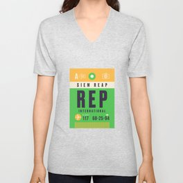 Baggage Tag A - REP Siem Reap International Cambodia Unisex V-Neck