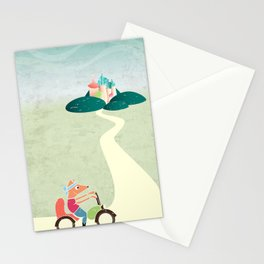 Fox on motocycle Stationery Cards