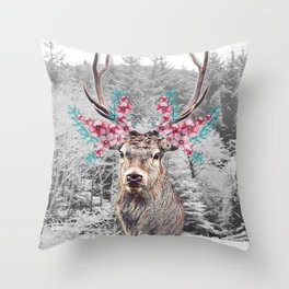 Fluttering Stag Throw Pillow
