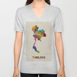 Thailand Watercolor Map Unisex V-Neck
