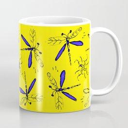 Blue Dragonflys On Gold Back Coffee Mug