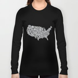 USA TYPOGRAPHY MAP Long Sleeve T-shirt