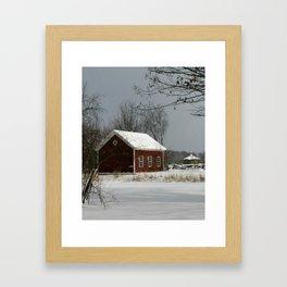 Red Barn in Snow Framed Art Print