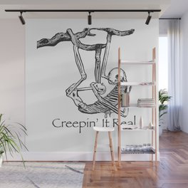 "Halloween Sloth Skeleton ""Creepin' it real."" Wall Mural"