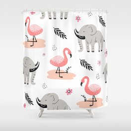 flamingos and elephants pattern Shower Curtain
