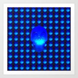 Blue Crystal Skull Art Print