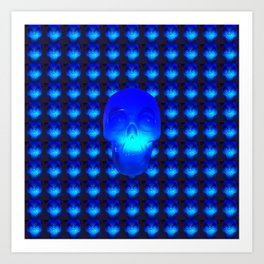 Blue Crystal Skull Art Print