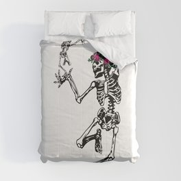 Two Dancing Skeletons | Day of the Dead | Dia de los Muertos | Comforters