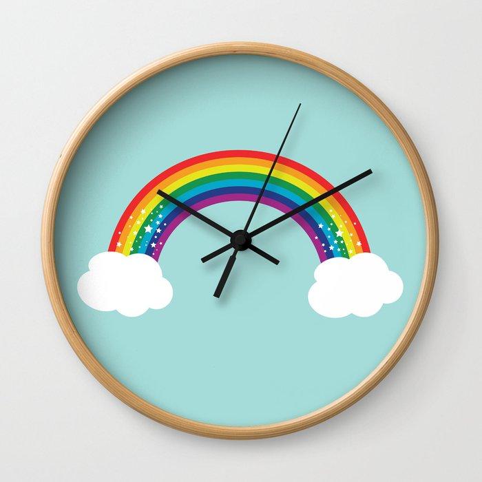 Sparkly Rainbow Wall Clock