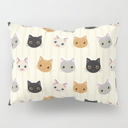 Cute Kitten & Stripes Pattern Pillow Sham