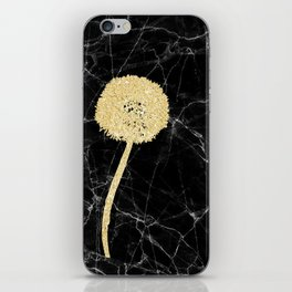 Golden Dandelion on Black Marble iPhone Skin
