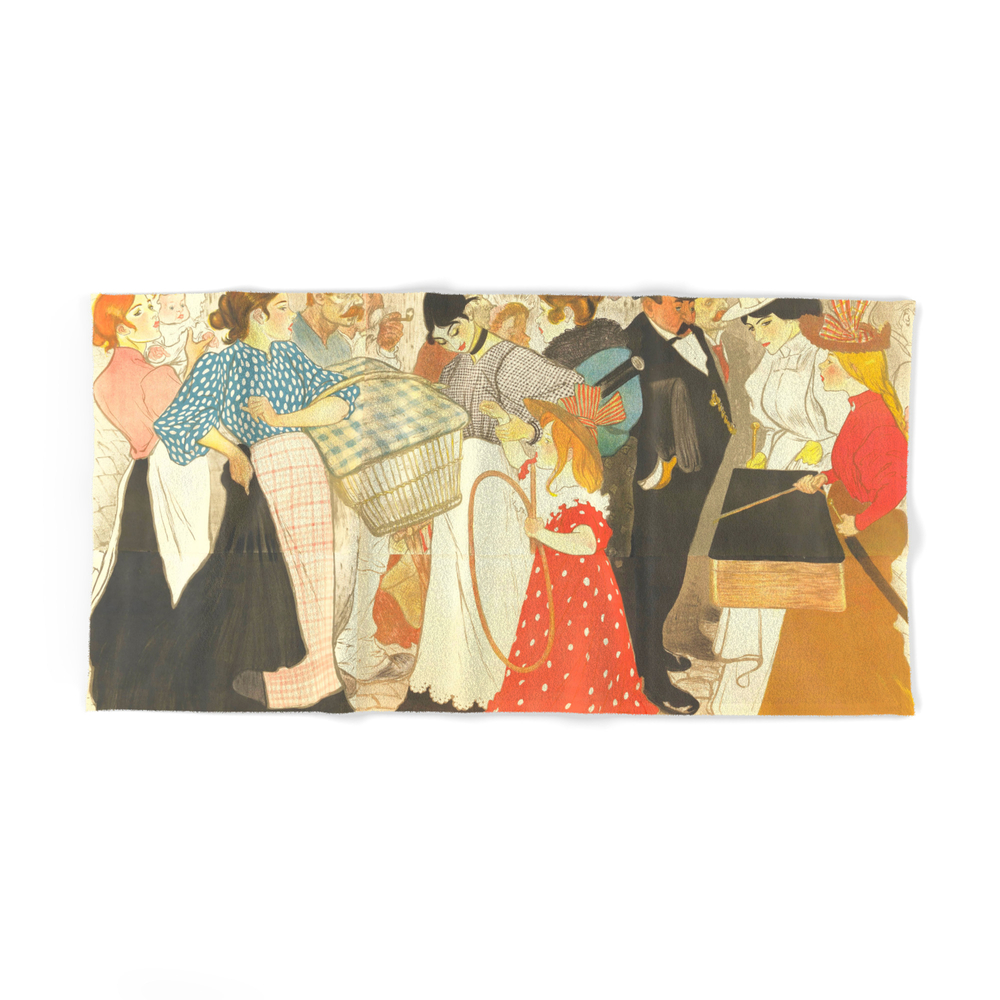"""Theophile Steinlen """"the Street (La Rue), Poster For The Printer Charles Verneau"""" Bath Towel by alexandra_arts"""