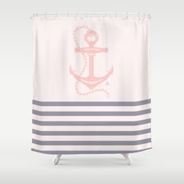 AFE Pink Nautical Anchor  Shower Curtain