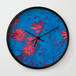 Super Fun Electric Daisies on Blue Wall Clock