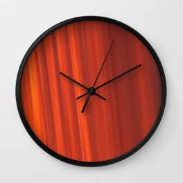 Red & Orange Sunset Stripes Wall Clock