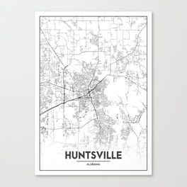 Minimal City Maps - Map Of Huntsville, Alabama, United States Canvas Print
