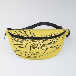 Ravens. Background of birds in different variations. Fanny Pack