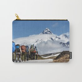 Group of hikers climbing on mountain on background volcanoes of Kamchatka Peninsula Carry-All Pouch