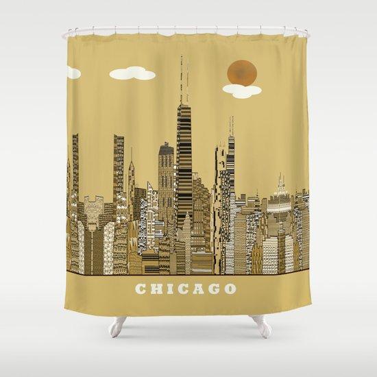 Chicago city (vintage Shower Curtain