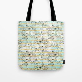 Cute watercolor gray floral and stripes design Tote Bag